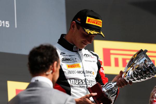 2015 GP3 Series Round 1. Circuit de Catalunya, Barcelona, Spain. Sunday 10 May 2015. Podium. Marvin Kirchhofer (GER, ART Grand Prix). Photo: Zak Mauger/GP3 Series Media Service. ref: Digital Image _L0U5378
