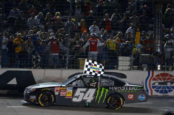 April 11-12, 2013 Fort Worth, Texas USA Kyle Busch, Monster Energy Toyota Camry celebrates his win © 2013, Brian Czobat LAT Photo USA .