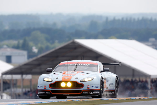 Circuit de La Sarthe, Le Mans, France. 19th - 23rd June 2013. Christoffer Nygaard/Kristian Poulsen/Allan Simonsen, Aston Martin Racing (Prodrive), No.95 Aston Martin Vantage GTE, Action. Worldwide Copyright: Alastair Staley/  ref: Digital Image _R6T9262