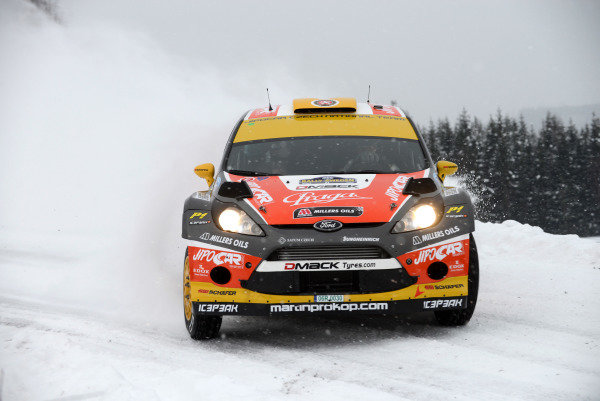 Martin Prokop (CZE) and Michal Ernst (CZE), Ford Fiesta RS WRC on stage 3. FIA World Rally Championship, Rd2, Rally Sweden, Karlstad, Sweden, Day One, Friday 8 February 2013