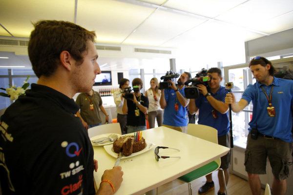 Daniel Juncadella (ESP) Force India F1 Test Driver receives a Birthday cake. Formula One World Championship, Rd5, Spanish Grand Prix, Preparations, Barcelona, Spain, Thursday 8 May 2014.