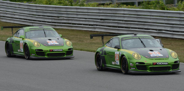 6-7 July, 2012, Lakeville, Connecticut USA#34  & #33 Green Hornet Racing Porsche 911 GT3 Cup(c)2012 Dan R. Boyd LAT Photo USA