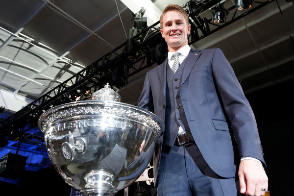 6 December, 2012, Indianapolis, Indiana, USA Champion Ryan Hunter-Reay with the Astor Cup.(c) 2012, Michael L. Levitt LAT Photo USA