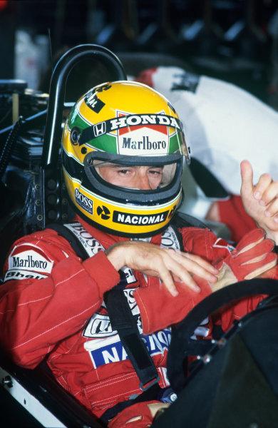 Jacarepagua, Rio de Janeiro, Brazil.1-3 April 1988.Ayrton Senna (McLaren MP4/4 Honda), DQ, helmet, portrait. World Copyright: LAT Photographic.Ref:  88BRA