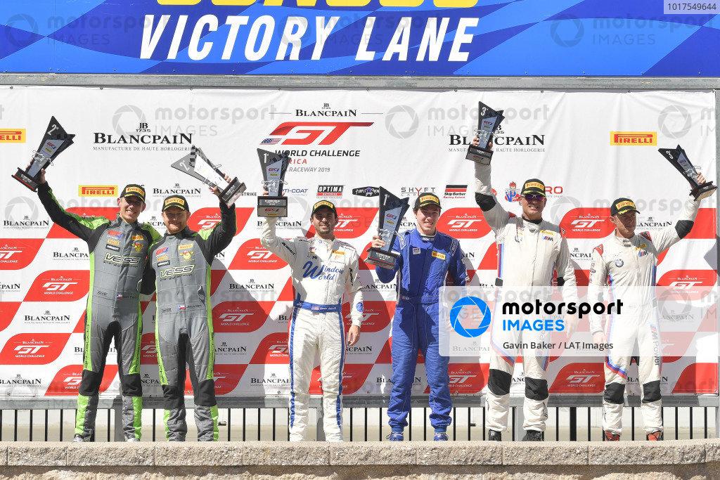 #36 McLaren 570S GT4 of Jarett Andretti and Colin Mullan  #47 Porsche 718 Cayman CS MR of Matt Travis and Jason Hart  #19 BMW M4 GT4 of Sean Quinlan and Gregory Liefooghe