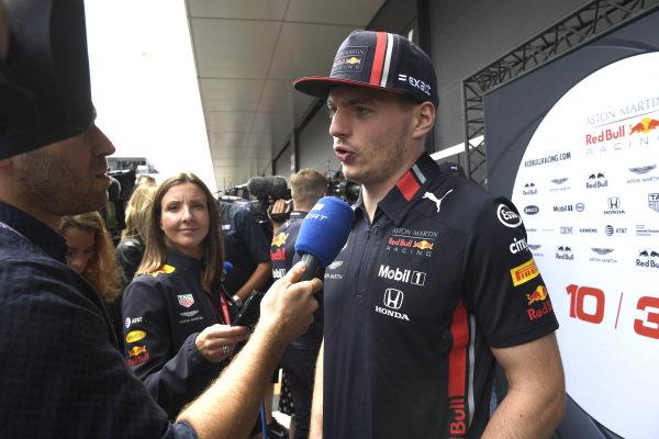 Max Verstappen, Red Bull Racing speaks go the media