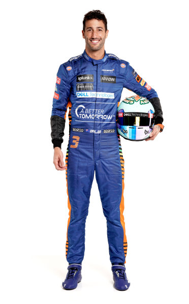 Daniel Ricciardo portrait - front on with helmet