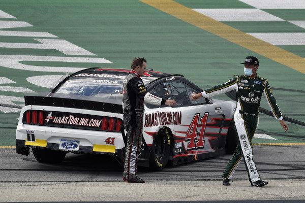 #14: Clint Bowyer, Stewart-Haas Racing, Ford Mustang One Cure and #41: Cole Custer, Stewart-Haas Racing, Ford Mustang HaasTooling.com