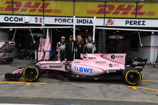 Sergio Perez (MEX) Force India, Otmar Szafnauer (USA) Force India Formula One Team Chief Operating Officer and Esteban Ocon (FRA) Force India F1 at Formula One World Championship, Rd1, Australian Grand Prix, Practice, Albert Park, Melbourne, Australia, Friday 24 March 2017. BEST IMAGE