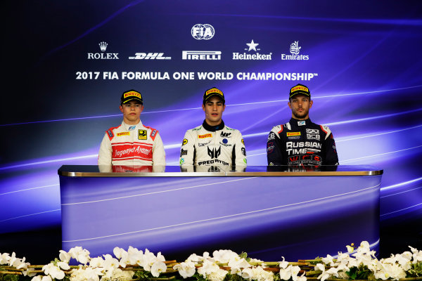 Spa Francorchamps, Belgium.  Sunday 27 August 2017 Sergio Sette Camara (BRA, MP Motorsport). Luca Ghiotto (ITA, RUSSIAN TIME). and Nyck De Vries (NED, Racing Engineering).  Photo: Mauger/FIA Formula 2 ref: Digital Image _56I3529