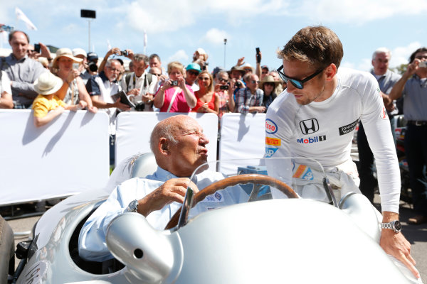 2015 Goodwood Festival of Speed Goodwood Estate, West Sussex, England. 25th - 28th June 2015. Jenson Button and Stirling Moss. World Copyright: Alastair Staley/LAT Photographic ref: Digital Image_79P0343