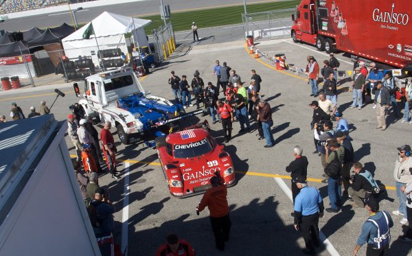 28-31 January, 2010, Daytona Beach, Florida USA The #99 Chevrolet Riley of Alex Gurney, Jon Fogarty, Jimmie Johnson and Jimmy Vasser is returned to the garage by a tow truck after crashing during practice. ©2010, R.D. Ethan, USA LAT Photographic