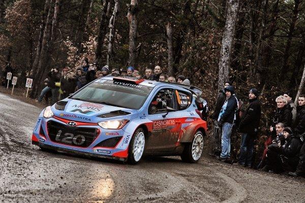 www.sutton-images.com -  Dani Sordo (ESP) / Marc Marti (ESP) Hyundai i20 WRC at the FIA World Rally Championship, Rd1, Rally Monte Carlo, Preparations and Shakedown, Monte Carlo, 22 January 2015. Photo Sutton Images