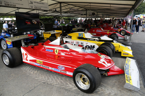 2015 Goodwood Festival of Speed.  Goodwood Estate, West Sussex, England. 25th - 28th June 2015.  Gilles Villeneuve's Ferrari 312T4 and Rene Arnoux's Renault RS10, parked as if to recreate their famous battle in the 1979 French Grand Prix.  Ref: KW5_3478a. World copyright: Kevin Wood/LAT Photographic