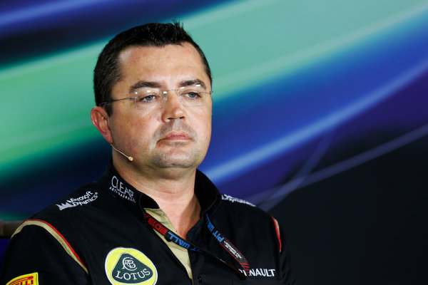 Marina Bay Circuit, Singapore. Friday 20th September 2013.  Eric Boullier, Team Principal, Lotus F1.  World Copyright: Alastair Staley/LAT Photographic. ref: Digital Image _R6T0957