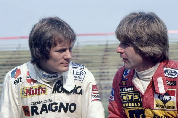 1982 Dutch Grand Prix Zandvoort, Holland. 1-3 July 1982 Marc Surer (Arrows A4-Ford Cosworth) and Manfred Winkelhock (ATS D5-Ford Cosworth). Portrait World Copyright: LAT PhotographicRef: 35mm transparency 82HOL46