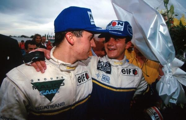 Right: Race winner Frank Lagorce (FRA) DAMS; left: team mate Olivier Panis (FRA) DAMS who was punted off the track into retirement but still claimed the championship by one point.