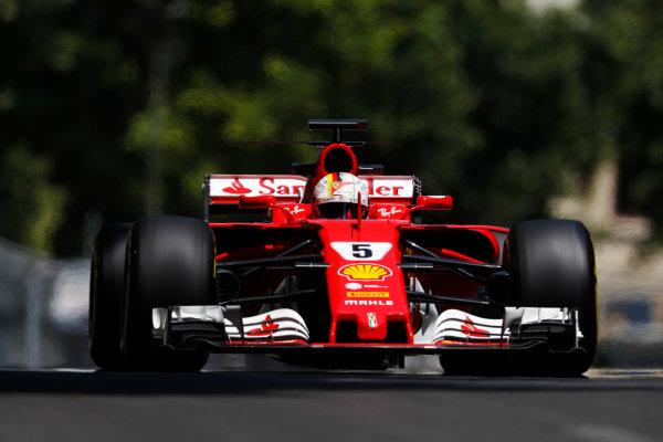 Baku City Circuit, Baku, Azerbaijan. Friday 23 June 2017. Sebastian Vettel, Ferrari SF70H.  World Copyright: Glenn Dunbar/LAT Images ref: Digital Image _X4I9819