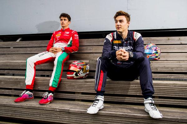 2017 FIA Formula 2 Round 6. Silverstone, Northamptonshire, UK. Thursday 13 July 2017. Charles Leclerc (MCO, PREMA Racing) and Antonio Fuoco (ITA, PREMA Racing).  Photo: Zak Mauger/FIA Formula 2. ref: Digital Image _56I6264