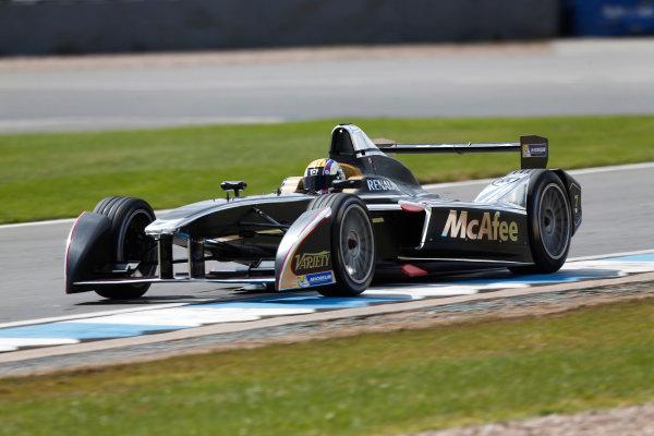FIA Formula E Test Day, Donington Park, UK.  9th - 10th July 2014.  Oriol Servia, Dragon Racing. Photo: Sam Bloxham/FIA Formula E ref: Digital Image _SBL9705