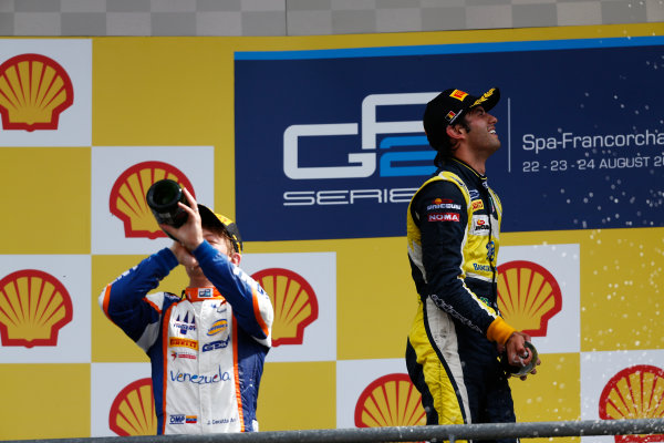 2014 GP2 Series Round 8. Spa-Francorchamps, Spa, Belgium. Sunday 24 August 2014. Johnny Cecotto (VEN, Trident) & Felipe Nasr (BRA, Carlin)  Photo: Sam Bloxham/GP2 Series Media Service. ref: Digital Image _SBL7731