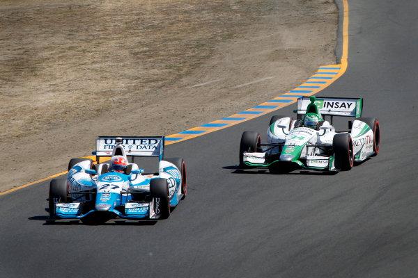 23-24 August, 2014, Sonoma, California USA #27 James Hinchcliffe leads #34 Carlos Munoz ©2014, Todd Davis LAT Photo USA