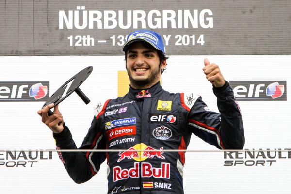 Nurburg (GER) 11-13 JULY 2012 - World Series by Renault at the Nurburgring. Carlos Sainz jr. #1 Dams. Podium. © 2014 Sebastiaan Rozendaal / Dutch Photo Agency / LAT Photographic