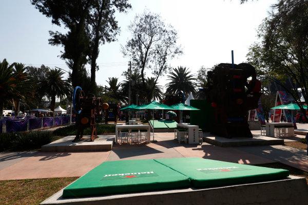 Autodromo Hermanos Rodriguez, Mexico City, Mexico. Sunday 29 October 2017. A bar with Heineken branding in the Fan Zone. World Copyright: Sam Bloxham/LAT Images  ref: Digital Image _W6I0543