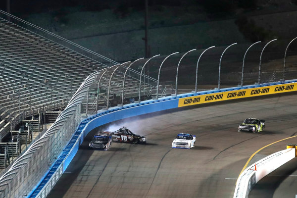 NASCAR Camping World Truck Series  Lucas Oil 150 Phoenix Raceway, Avondale, AZ USA Friday 10 November 2017 Christopher Bell, JBL Toyota Tundra, Noah Gragson, Switch Toyota Tundra, crash World Copyright: Michael L. Levitt LAT Images