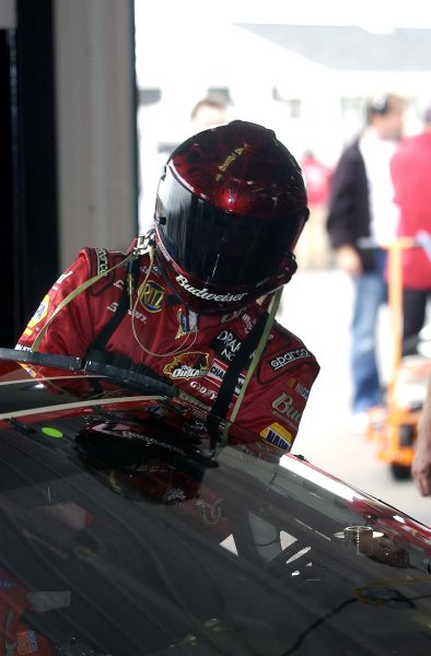 2003 NASCAR-Pocono500,Pocono 500, USA, June 06-08. Dale Earnhardt Jr. climbing onboard his Chevy,World Copyright -RobertLeSieur ,June,2003LAT Photographic-ref: digital image