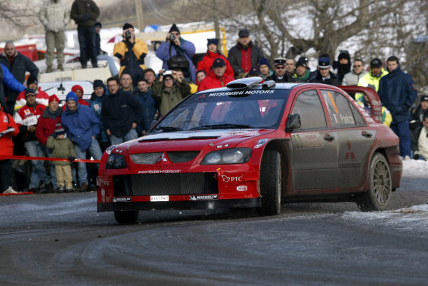 2004 FIA World Rally Champs. Round one, Monte Carlo Rally.22nd-25th January 2004.Gilles Panizzi, Mitsubishi, Action.World Copyright: McKlein/LAT