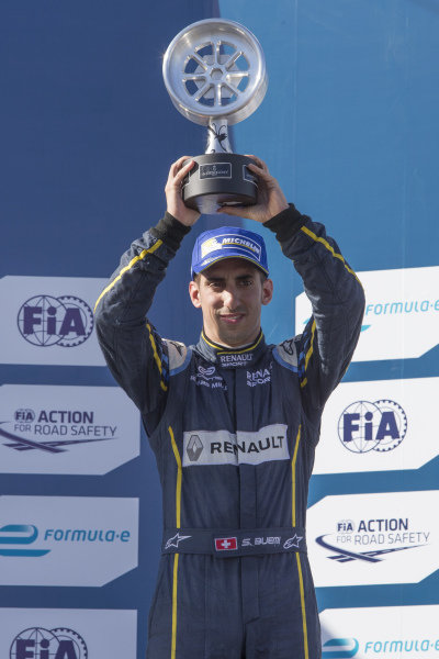 Sebastien Buemi (SUI) - Team e-dams Renault celebrates on the podium with the trophy at Formula E Championship, Rd9, Moscow, Russia, 4-6 June 2015.