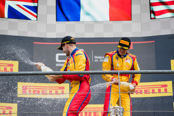 2017 GP3 Series Round 5.  Spa-Francorchamps, Spa, Belgium. Sunday 27 August 2017. Giuliano Alesi (FRA, Trident), Ryan Tveter (USA, Trident).  Photo: Zak Mauger/GP3 Series Media Service. ref: Digital Image _56I3117
