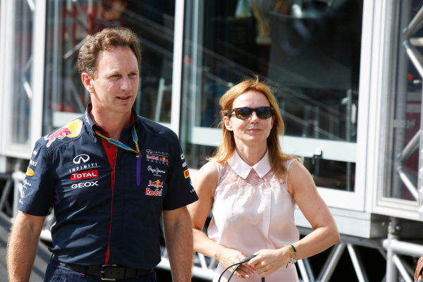 Hungaroring, Budapest, Hungary. Saturday 26 July 2014. Christian Horner, Team Principal, Red Bull Racing, with his girlfriend Geri Halliwell. World Copyright: Charles Coates/LAT Photographic. ref: Digital Image _J5R8101