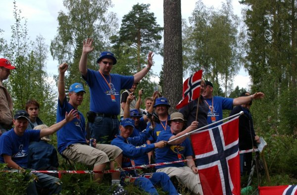 Norwegian fans saw Petter Solberg (NOR), Subaru, finish second.FIA World Rally Championship, Rd9, Neste Rally Finland, Jyvaskyla, Finland, Day 3, 10 August 2003.DIGITAL IMAGE