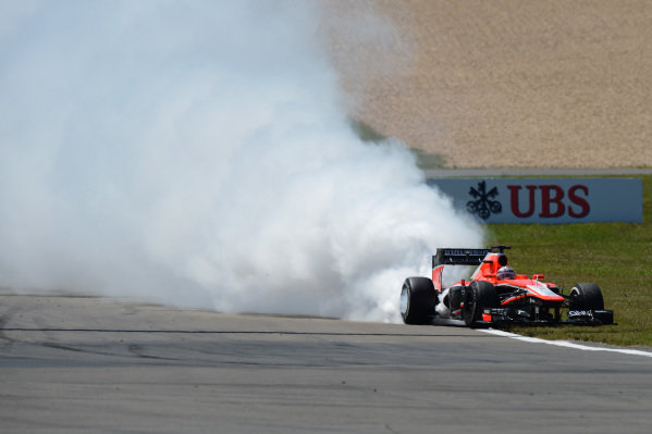 Jules Bianchi (FRA) Marussia F1 Team MR02 suffers an engine blow up. Formula One World Championship, Rd9, German Grand Prix, Race Day, Nurburgring, Germany, Sunday 7 July 2013.