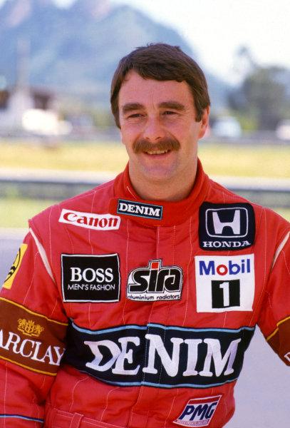 Jacarepagua, Rio de Janeiro, Brazil. 10th - 12th April 1987.Nigel Mansell (Williams Honda) portrait.World Copyright: LAT Photographic.