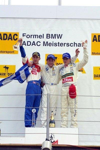 Podium and results:1st. Alexander Margaritis (GRE), centre.2nd Thomas Holzer (GER)ADAC Berlin-Brandenb. / MŸcke, left.3rd Maximilian Gštz (GER)ADAC Nordbayern / MŸcke, right.Formula BMW ADAC Championship, Rd5, Norisring, Germany. 30 June 2002.DIGITAL IMAGE