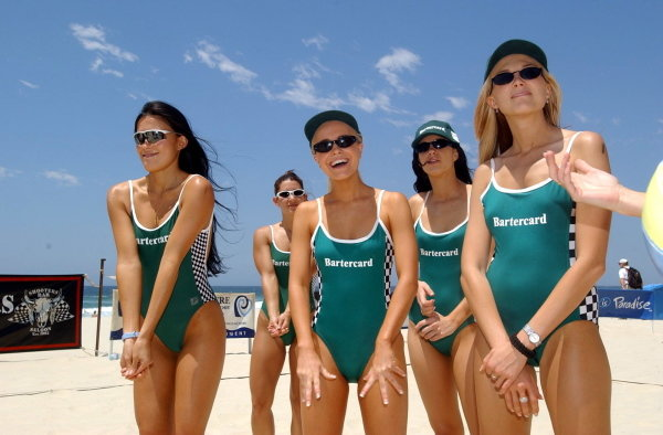 Miss Indy girls prepare for beach volleyball.