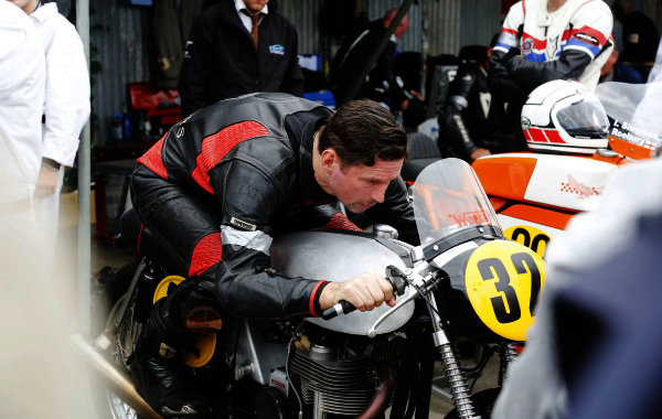 2015 Goodwood Revival Meeting.  Goodwood Estate, West Sussex, England. 11th - 13th September 2015.  Barry Sheene Memorial Trophy.  Julian Ide prepares in the paddock on his Manx Norton.  Ref: _W5_5712. World copyright: Kevin Wood/LAT Photographic