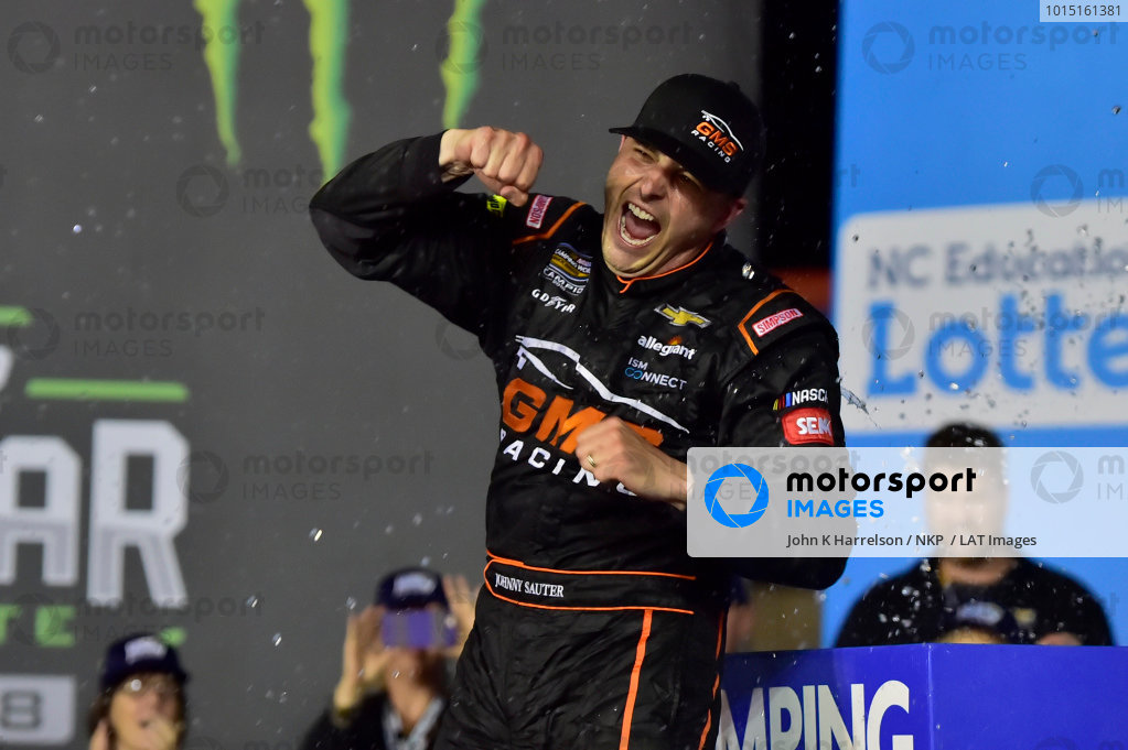 #21: Johnny Sauter, GMS Racing, Chevrolet Silverado ISM Connect, wins at Charlotte