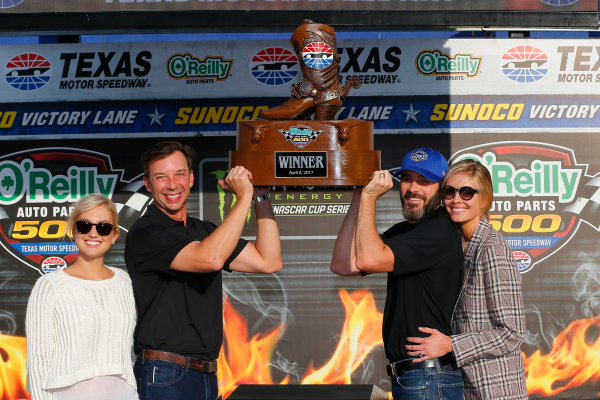 2017 Monster Energy NASCAR Cup Series O'Reilly Auto Parts 500 Texas Motor Speedway, Fort Worth, TX USA Sunday 9 April 2017 Jimmie Johnson celebrates in victory lane  World Copyright: Russell LaBounty/LAT Images ref: Digital Image 17TEX1rl_5480