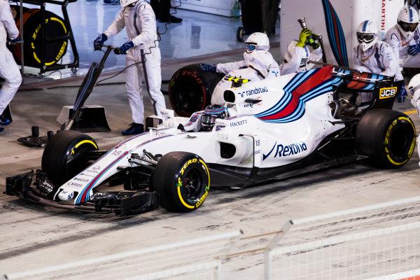 Bahrain International Circuit, Sakhir, Bahrain.  Sunday 16 April 2017. Lance Stroll, Williams FW40 Mercedes, in the pits. World Copyright: Sam Bloxham/LAT Images ref: Digital Image _W6I2749
