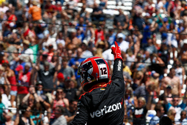Verizon IndyCar Series Indianapolis 500 Carb Day Indianapolis Motor Speedway, Indianapolis, IN USA Friday 26 May 2017 Will Power, Team Penske Chevrolet celebrates winning the Pit Stop Competition World Copyright: Phillip Abbott LAT Images ref: Digital Image abbott_indy_0517_26889
