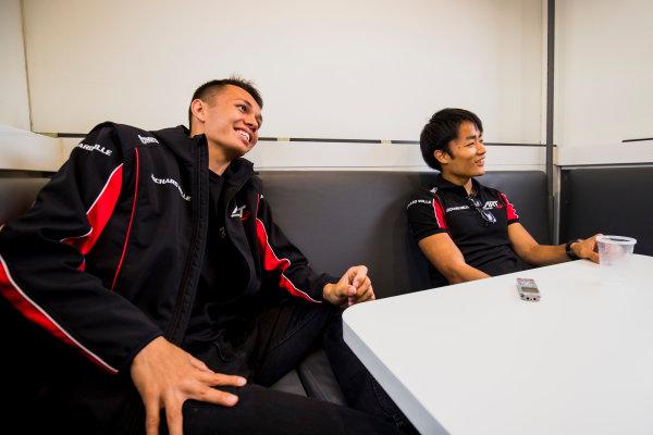 2017 FIA Formula 2 Round 6. Silverstone, Northamptonshire, UK. Thursday 13 July 2017. Alexander Albon (THA, ART Grand Prix) and Nobuharu Matsushita (JPN, ART Grand Prix).  Photo: Zak Mauger/FIA Formula 2. ref: Digital Image _56I6478