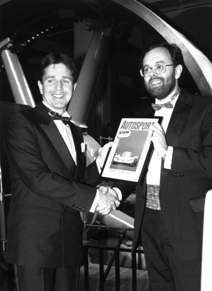 1988 Autosport Awards. Science Museum, London, 5th January 1989. Martin Brundle receive the British Competition Driver of the Year award from Peter Foubister. World Copyright: LAT Photographic. Ref: B/W Print.