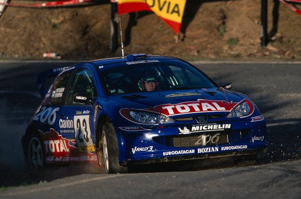 2002 World Rally ChampionshipRally Catalunya, Spain. 21st - 24th March 2002.Harri Rovenpera, Pietilainen, Peugeor 206 WRC, action.World Copyright: McKlein/LAT Photographic.ref: 35mm Image 02 WRC 09