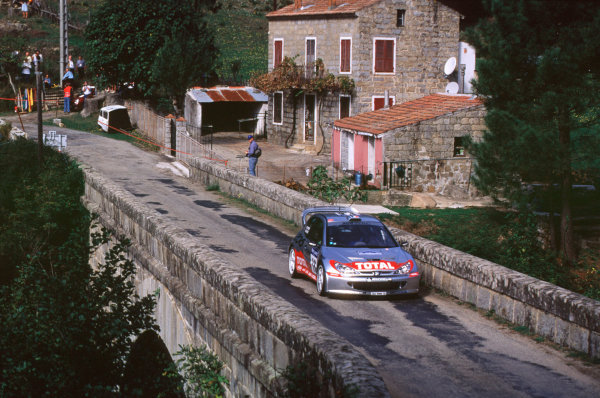 2001 FIA World Rally ChampsRallye de France, Ajaccio, Corsica, 18th-21st October 2001.Gilles Panizzi in the Peugeot, action.World Copyright: LAT Photographic/McKlein.ref: 35mm Image A06
