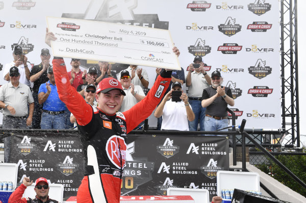 #20: Christopher Bell, Joe Gibbs Racing, Toyota Supra Rheem in victory lane