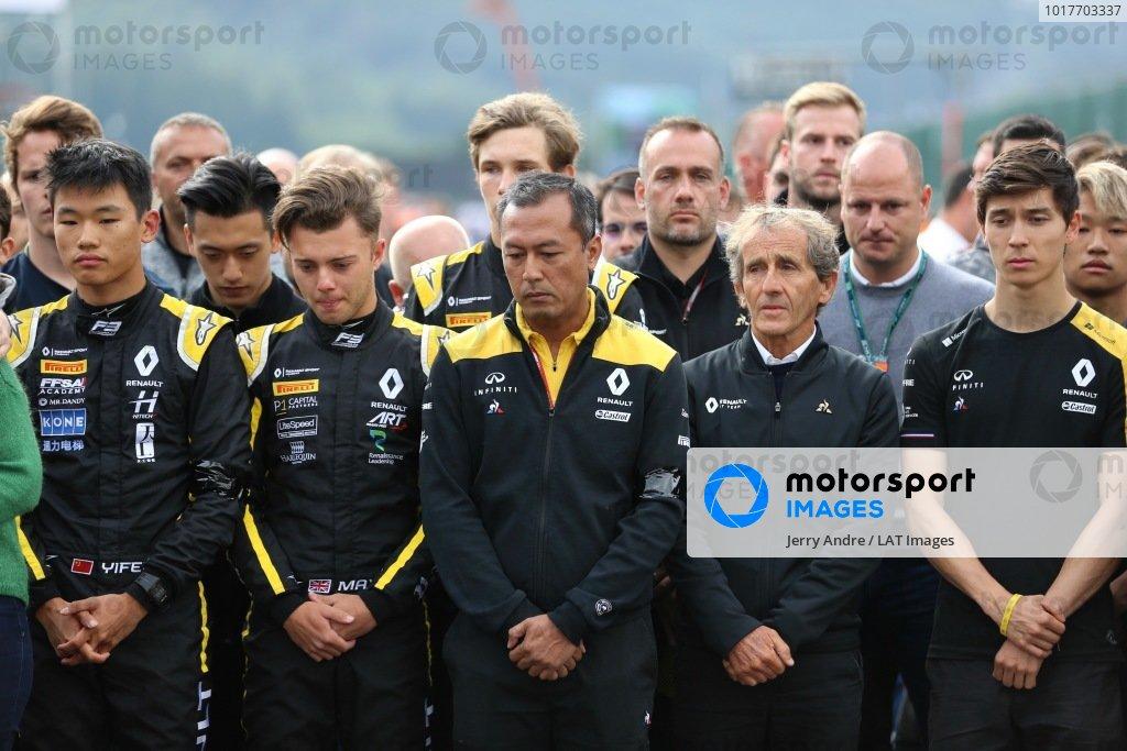 Mia Sharizman Renault Sport Academy DirectorAlain Prost, Renault F1 Team, with Jack Aitken, Renault R.S. 19, Max Fewtrell (GBR) ART Grand Prix, Ye Yifei (FRA) Hitech Grand Prix